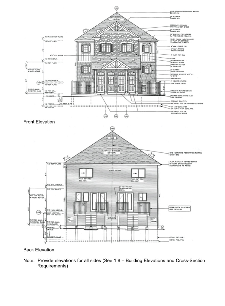 Building elevations and cross-section drawing example. This example is of the front of the building and back of the building.