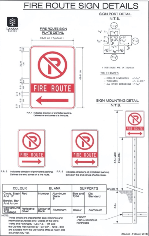 Example of design and installation standards for fire route signs.