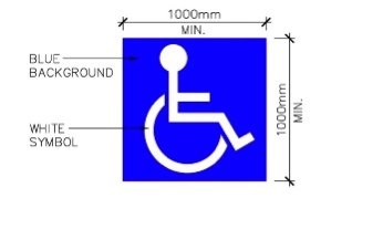 An example of the international symbol of access, which is optional to have on the surface of a parking space.