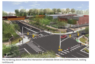 This rendering shows the intersection of Adelaide Street and Central Avenue, looking northbound. For more information, please contact Peter Kavcic by emailing pkavcic@london.ca or by calling 519-661-2489 extension 4581
