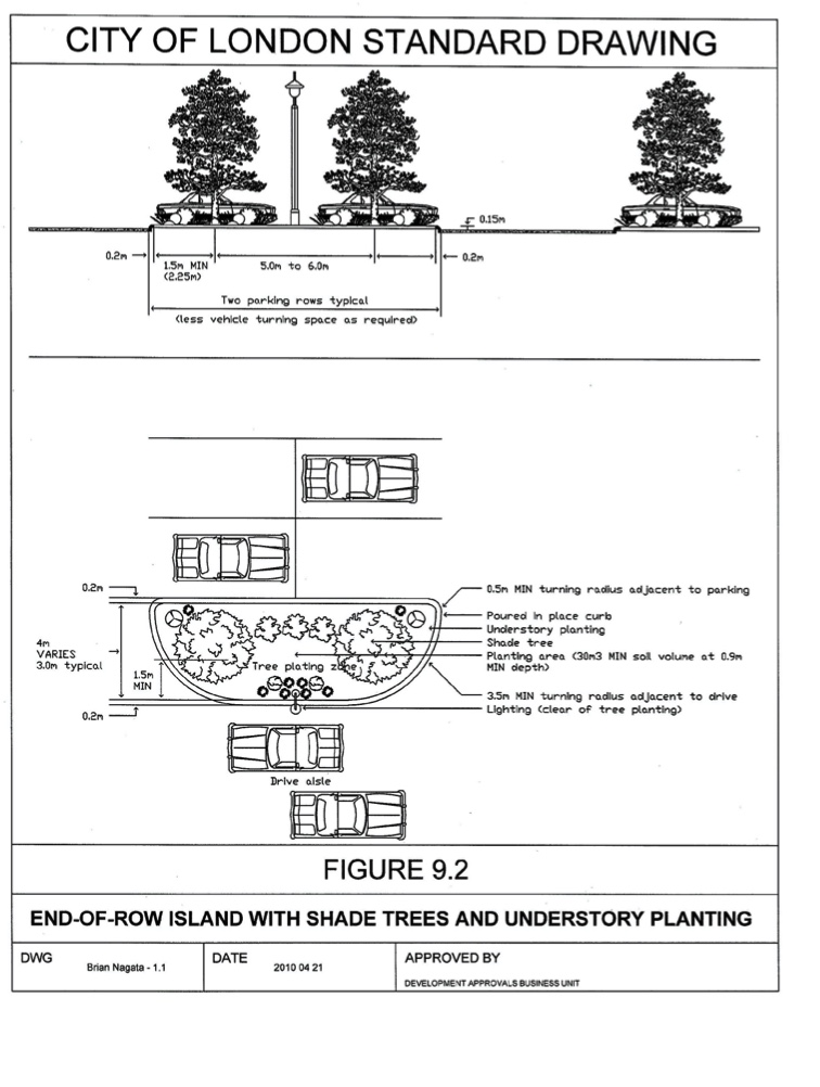 Site plan requirements for tree planters.