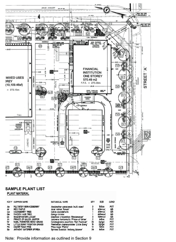 An example of a landscaping plan. This is only a partial view of the sample plan.