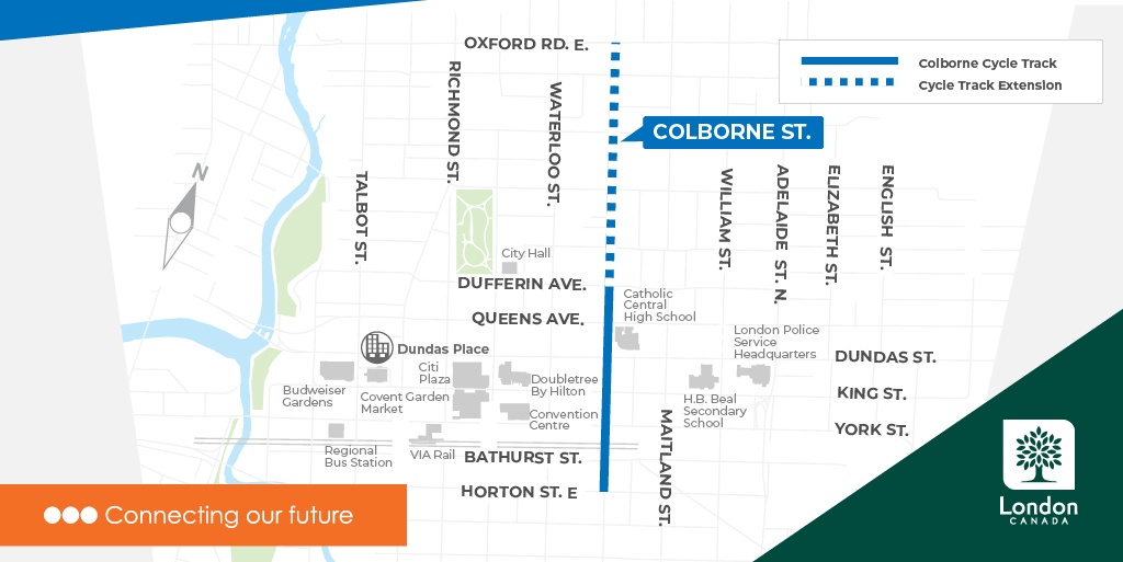 Colborne Cycle Track Extension Map
