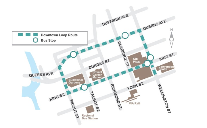 The Downtown Loop will include the following streets: Queens Avenue, Wellington Street, King Street and Ridout Street. For more information, please contact Jennie Dann by calling (519) 661-2489 x 5823 or by emailing jdann@london.ca