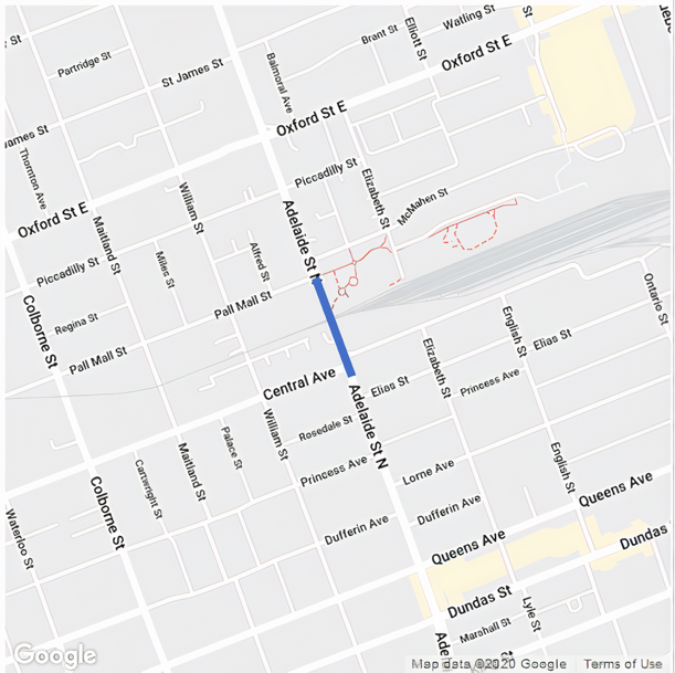 Adelaide Street between Central Avenue and Pall Mall Street will be closed to all road users starting November 7 at 6 a.m. until November 8 at approximately 11 p.m. For more information, please contact Garfield Dales at gdales@london.ca or by calling 519-661-2489 x4637.