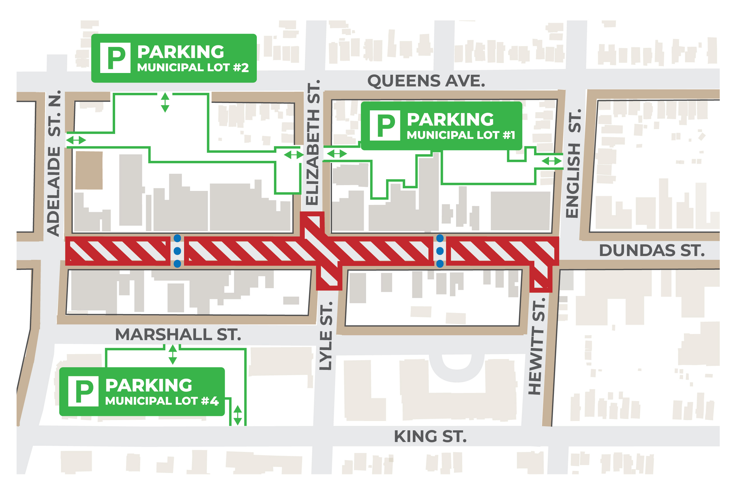 This map shows the location of the construction project on Dundas Street between Adelaide Street North and English Street. Space will be created mid-block to help pedestrians safely cross the street.