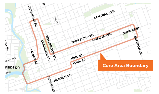 Parking map in downtown core