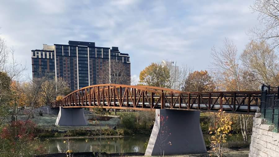A new bridge at Ross Park is one of two new bridges along the Thames Valley Parkway crossing the Thames River and connecting to new paths.